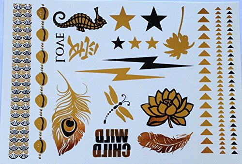 Lightning Bolt Black and Gold Metallic Temporary Tattoo