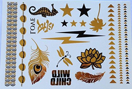 Lightning Bolt Black and Gold Metallic Temporary -