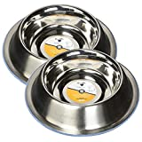 OurPets DuraPet Premium No-Tip Stainless Steel Pet Bowls, Small (2 Pack)