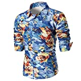 Big Promotion Fashion Mens Shirts vermers Personality Mens Casual Slim Long Sleeve Printed Shirt Top Blouse(M, Blue)