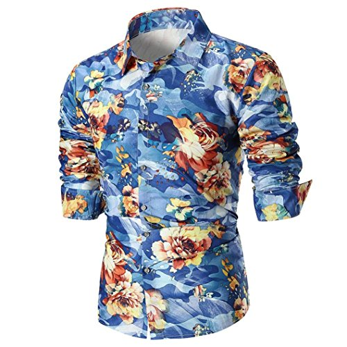 Big Promotion Fashion Mens Shirts vermers Personality Mens Casual Slim Long Sleeve Printed Shirt Top Blouse(M, Blue) by vermers