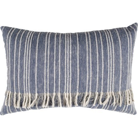 Better Homes and Gardens Burlap Fringed Blue Denim Decorative Pillow, Rectangular, 13