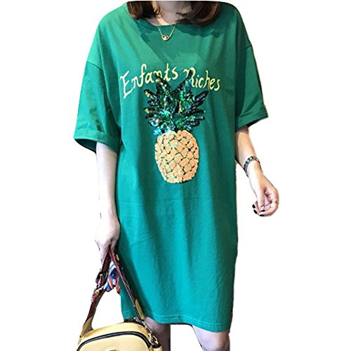 ましいモディッシュ細菌Spinas(スピナス)マタニティ 半袖 カットソー チュニック Tシャツ ワンピース スパンコール パイナップル グリーン(授乳口 あり/なし)