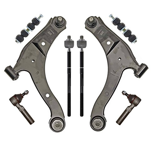 PartsW 8 Piece Suspension Steering Kit for Chrysler PT Cruiser & Dodge Neon, Front Lower Control Arms Left & Right with Ball Joint Tie Rods Stabilizer Sway Bar (Chrysler Neon)