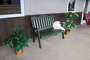Classic Outdoor 5 Foot Royal English Garden Bench - PAINTED- Amish Made USA -Dark Green
