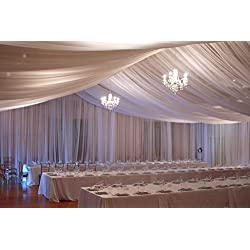 Ceiling Draping Ivory Sheer Ceiling Curtain Voile Chiffon Ceiling Drape 10 Ft W X 19 Ft H Panel Wedding