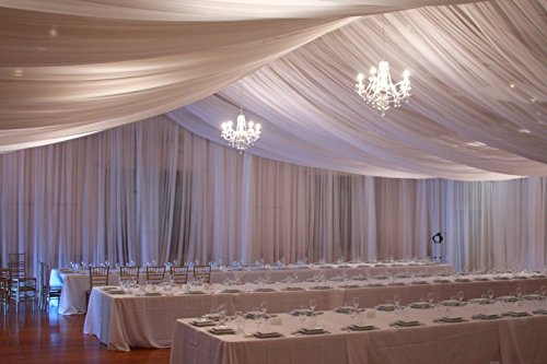 Ceiling Draping Ivory Sheer Ceiling Curtain Voile Chiffon Ceiling Drape 10 Ft W X 75 Ft H Panel Wedding by Tablecloth Market (Image #4)