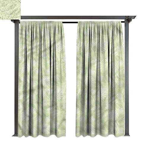 - cobeDecor UV Protectant Indoor Outdoor Curtain Panel Tropical Fresh Jungle Leaves Motif for Lawn & Garden, Water & Wind Proof W120 xL96