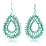 X&WILL Handmade Crochet Dangle Earrings for Women Bohemian Jewelry Teardrop