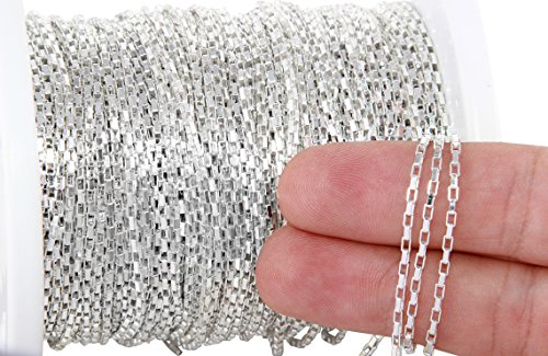 - 3 Foot Sterling Silver Box Chain 1.6x2.5 mm For Diy Beading Arts and Crafts