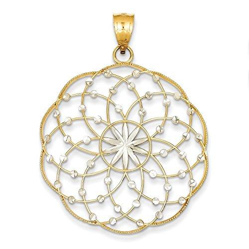 14 carats et diamant de Rhodium coupe pendentif sphère mesures 49,4 x 45,2-JewelryWeb mm