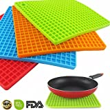 Set of 4 Silicone Pot Holder, Trivet Mat, jar Opener, spoon Rest - Non Slip, Flexible, Durable, Heat Resistant Hot Pads(7-inch)