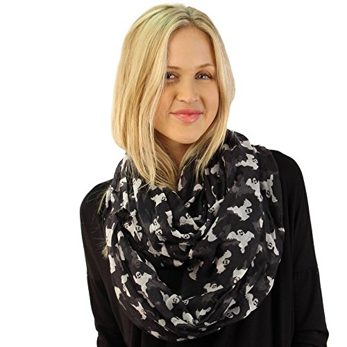 BOO Ghosts Happy Halloween Soft Light Wide Loop Circle Infinity Scarf Wrap (Halloween Scarves)