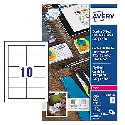 Avery Italia C32016-25 Biglietto da Visita, Stampabile Fronte/Retro, 10 Biglietti per Foglio, Confezione da 25 Pezzi, Bianco Avery-Zweckform