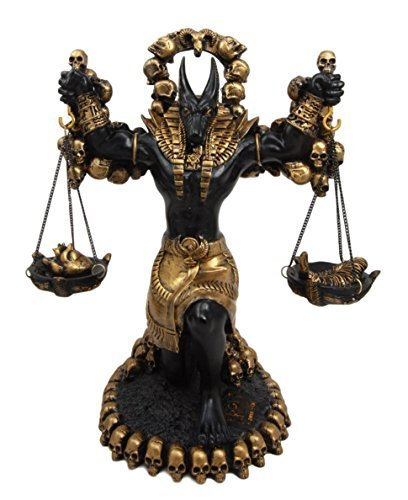 """Ebros Ancient Egyptian God Anubis Statue By Ankh Altar Weighing The Heart Against Ostrich Feather Figurine 9"""" Tall"""