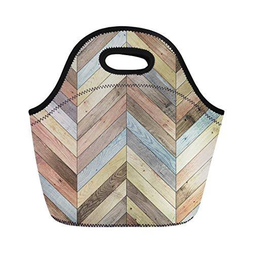 Semtomn Neoprene Lunch Tote Bag Colorful Arrow Wood Parquet Chevron Various Ash Beechwood Floor Reusable Cooler Bags Insulated Thermal Picnic Handbag for Travel,School,Outdoors,Work ()