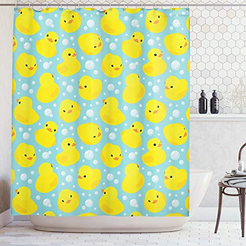 - Ambesonne nursery decor Collection, Cute Happy Baby Rubber Duck and Bubbles Cartoon Pattern Childhood Kids Decor Animal Art, Polyester Fabric Bathroom Shower Curtain, 75 Inches Long, Aqua Yellow