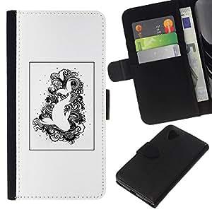 All Phone Most Case / Oferta Especial Cáscara Funda de cuero Monedero Cubierta de proteccion Caso / Wallet Case for LG Nexus 5 D820 D821 // Black White Drawing Fish Swimming