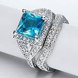 Sumanee Chic Jewelry 925 Silver Blue Topaz Gemstone Wedding Engagement Ring Set Size 7-9 (7)