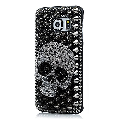 Skull Galaxy S8 Case, Miniko(TM) Halloween Luxury Unique Crystal 3D Handmade Sparkle Glitter Diamond Rhinestone Metal Skull Skeleton Design Back Cover…
