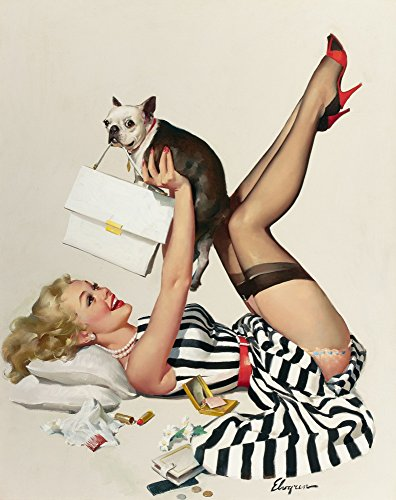Berkin Arts Gil Elvgren Giclee Canvas Print Paintings Poster Reproduction(Lucky Dog) -
