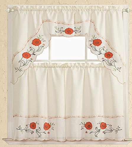 Unique Styles 100% Polyester Machine Washable Ducks Butterfly Flower Pattern Embroidered Detail Design 3-Piece Fabric Kitchen Curtain Set (Flower, Orange)