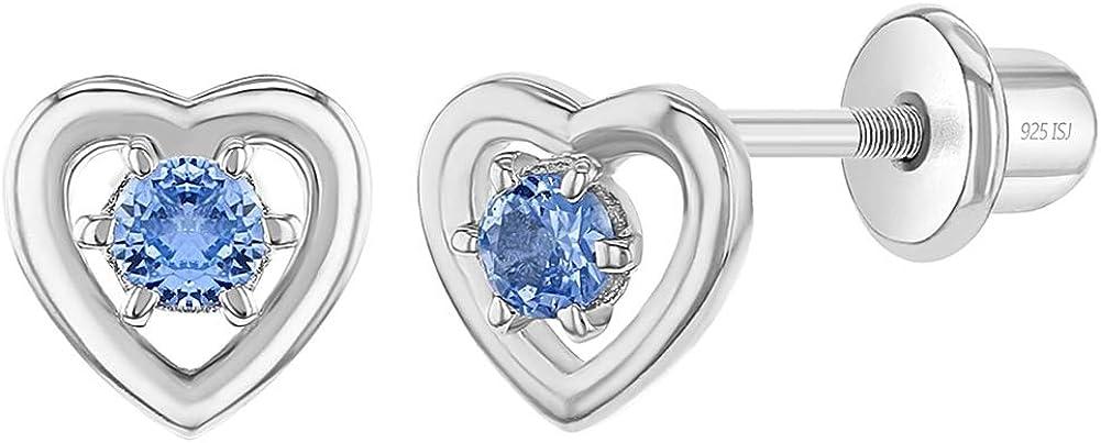 Pendientes clásicos de plata de ley 925 con corazón abierto y circonita cúbica azul para niñas con cierre seguro y apretado, hipoalergénicos para bebés y niñas