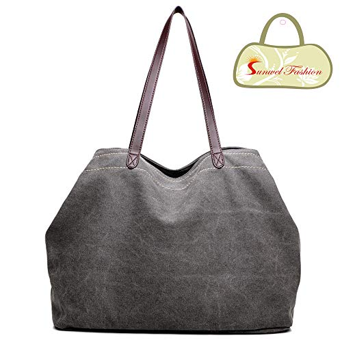 Sunwel Fashion Woman 3 Compartments Multi-pockets Large Space Canvas Tote Roomy Shoulder Handbag Laptop Business Office Bag, 8 Colors