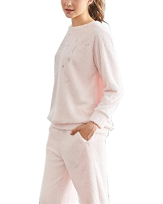 Pijamas Dos Piezas - Abrigada y Cómoda - Camisones y Pantalones Largos para Mujer Pink Claro