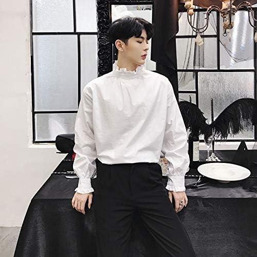 RSL Suelta Nuevo diseño Estilista de Moda de Corea del Cuello de la Camisa Personalizada Camisa Marea Camiseta del Club de Sexo Masculino (Color : White, Size : XL): Amazon.es: Hogar