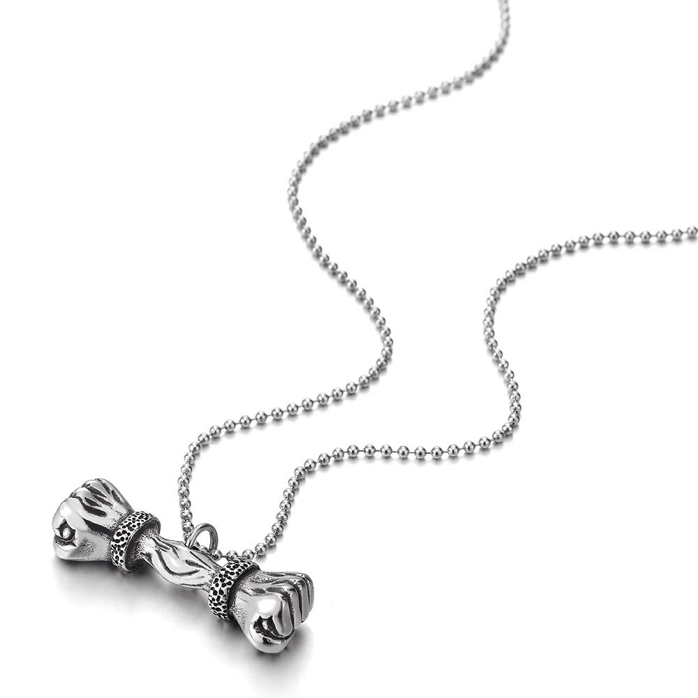 COOLSTEELANDBEYOND Stainless Steel Mens Boys Vintage Fist Hand Barbell Pendant Necklace with 30 inches Ball Chain