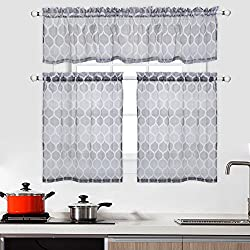 CAROMIO 3 Pieces Cafe Curtains Kitchen Tier Curtains and Valance Set Bathroom Curtains and Valance Set Sheer Moroccan Tile Print Curtains
