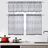 CAROMIO Kitchen Sheer Tier Curtains and Valance Set 3 Pcs Geometric Moroccan Pattern Voile Sheer Grey Kitchen Cafe Curtains Bathroom Window Curtains 24 Inch Length Set, Grey
