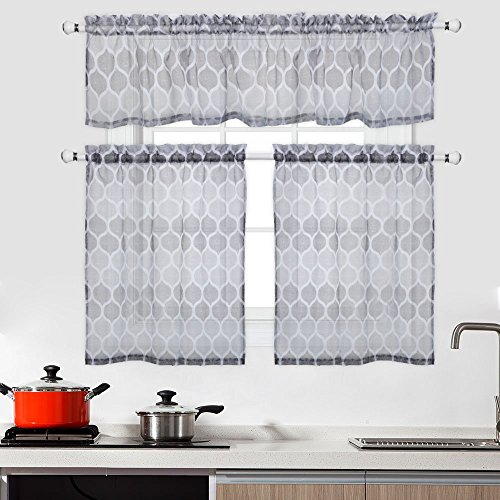 CAROMIO 3 Pieces Kitchen Sheer Tier Curtains and Valance Set