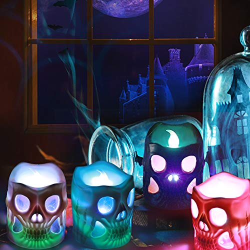 Colors Of Day Of The Dead (Litake Skeleton Candle Lights, Battery Operated 3D Novelty Candles,Flickering Colorful LED Tea Lights Candles for Cosplay Party Festival Room Decoration-12)