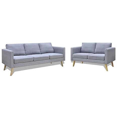 vidaXL Set de Dos sofás de Tela Grises claros 2 plazas 3 ...