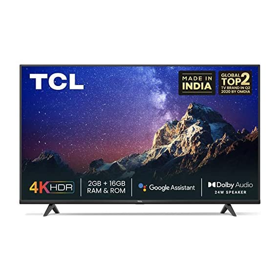 TCL 139 cm (55 inches) 4K Ultra HD Certified Android Smart LED TV 55P615 (Black) (2020 Model)