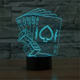 Christmas Valentine Wedding And Birthday Gifts 3D Table Touch Lamp 7 Colorful Color Changing Night Light for Children and Kids PokerDice