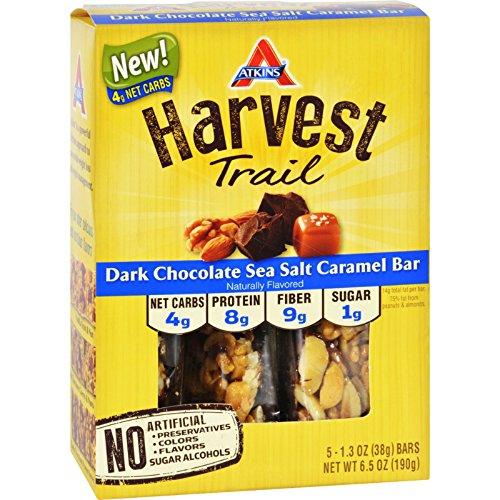 2Pack! Atkins Harvest Trail Bar - Dark Chocolate Sea Salt Caramel - 1.3 oz - 5 Count (Dark Chocolate Appetite Suppressant)