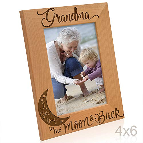 Kate Posh - Grandma I Love You to The Moon and Back Engraved Natural Wood Picture Frame, for Grandma, Birthday Gifts for Grandmother, Best Grandma Ever (4x6-Vertical)