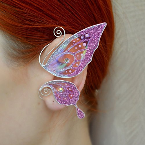 Fairy Jewelry Butterfly Earring Pink Butterfly Wing Jewelry...