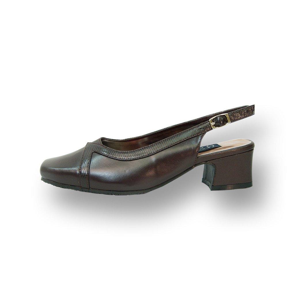Peerage FIC Tessa Women Wide Width Leather Slingback Pump Brown 8.5