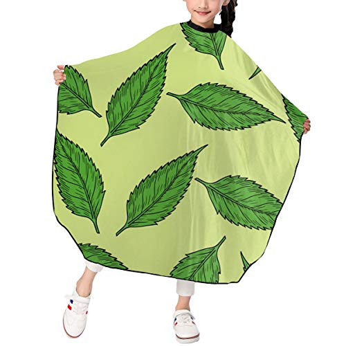 SIER_SWIAS Green Leaves Pattern Vector Clipart Portable Waterproof Children Hairdressing Apron Hairdressing Shawl, Professional Hair Salon 39