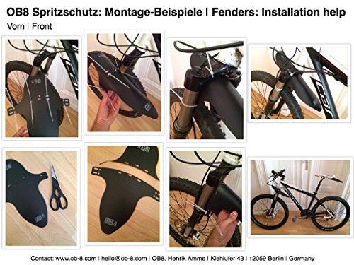 Universal Fahrrad Spritzschutz Set für vorn und hinten - OB8® Fahrrad-Schutzblech abnehmbar