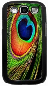 Rikki KnightTM Close-Up Peacock Feather Blue and Red - Black Hard Rubber TPU Case Cover for Samsung? Galaxy i9300 Galaxy S3