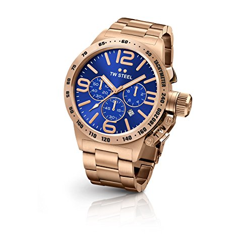 TW Steel CB184 Men's Canteen Stainless Steel Rose Gold Bracelet Band Blue Dial Watch