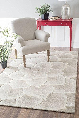 nuLOOM Gol Hand Tufted Wool Rug, 5' x 8', Ivory (Hand Tufted Wool Rugs Made In India)