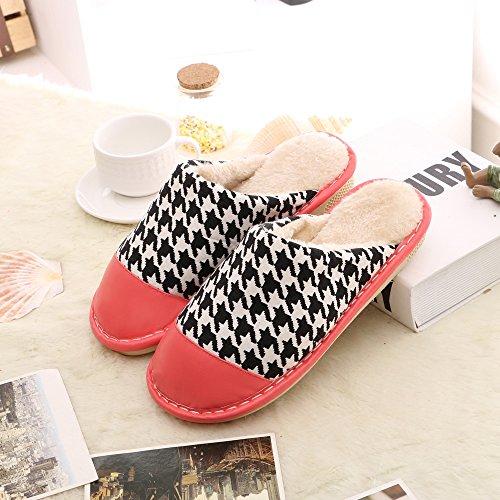 Cotone fankou pantofole inverno gli uomini e le donne a rimanere pacchetto con dense e calde non-slip home paio di pantofole di cotone ,34-35, marrone