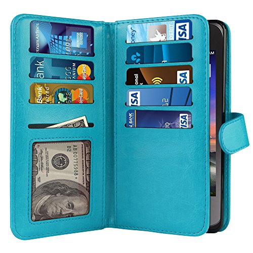 Citrine Knife - NEXTKIN Case Compatible with ZTE Citrine LTE Z716G Z717VL Z716BL, Leather Dual Wallet Folio TPU Cover, 2 Large Pockets Double flap, Multi Card Slots Snap Button Strap For Citrine LTE Z716G - New Teal