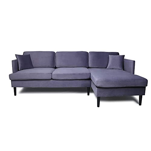 Mooseng Sectional Convertible Chaise Lounge L-Shaped Couches and Sofas with Modern Velvet Fabric for Small Space, Gray